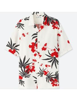 Men Hawaii Easy Care Printed Open Collar Short Sleeve Shirt by Uniqlo