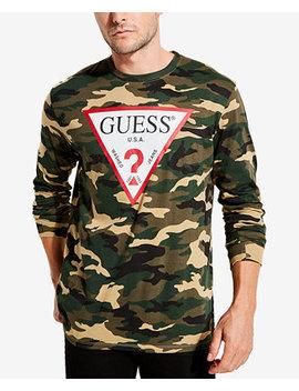 Men's Long Sleeve Camo Logo T Shirt by Guess