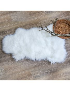 Deluxe Super Soft Faux Sheepskin Fur Chair Couch Cover Area Rug For Bedroom Floor Sofa Living Room 2 X 3 Feet White Color by Phantoscope