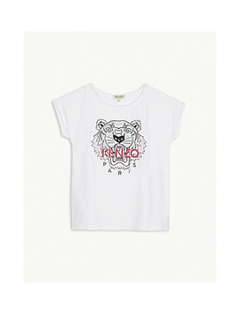 Embroidered Logo Cotton Blend T Shirt 4 16 Years by Kenzo