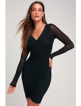 Adore Me Black Mesh Ruched Long Sleeve Bodycon Dress by Lulus