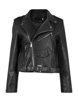 New Womens Ladies Faux Leather Belted Pu Zipped Biker Jacket Size Uk 8 10 12 14 by Ebay Seller