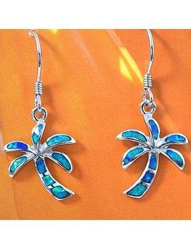 Palm Tree Earring, Sterling Silver Blue Opal Inlay Hawaiian Palm Tree Dangle Earring, E4054 Birthday Mom Wife Girl Gift Beach by Etsy