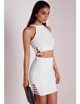 Lace Up Tie Detail Bodycon Mini Skirt White by Missguided