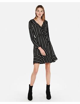 Petite Striped Elastic Waist Ruffle Wrap Dress by Express
