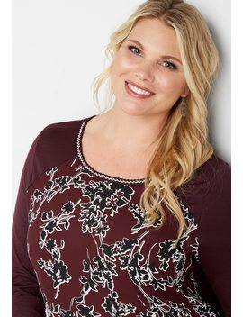 Plus Size Floral Print Embroidered Neck Top by Maurices