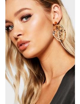 Abstract Face Tortoiseshell Statement Earrings by Boohoo