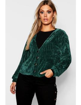 Plus Chenille Button Detail Cardigan by Boohoo