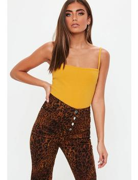 Yellow Straight Neck Ribbed Bodysuit by Missguided
