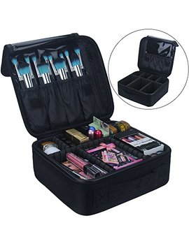 Travel Makeup Train Case Makeup Cosmetic Case Organizer Portable Artist Storage Bag 10.3'' With Adjustable Dividers For Cosmetics Makeup Brushes Toiletry Jewelry Digital... by Relavel