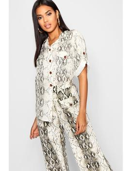 Snake Print Horn Button Roll Sleeve Blouse by Boohoo