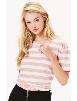 Guess Pink Striped T Shirt by Pacsun