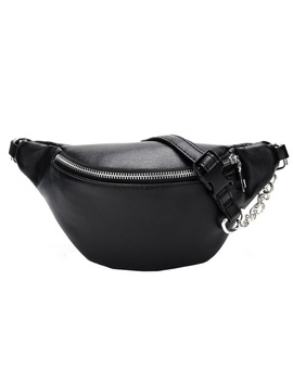 Casual Chain Lychee Leather Fanny Pack Waist Bag Casual Waterproof Antitheft Women Walking Shopping Band Belt Multi Function Bag by Htnbo