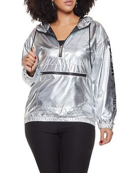 Plus Size Metallic Graphic Windbreaker by Rainbow