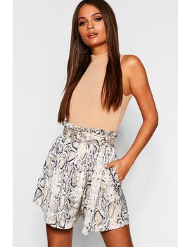 Snakeskin Satin Belted Paperbag Shorts by Boohoo