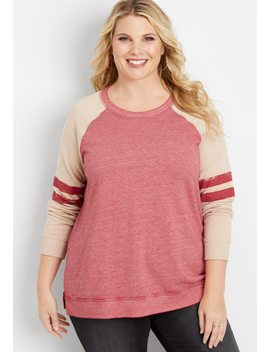 Plus Size Long Sleeve Football Pullover by Maurices