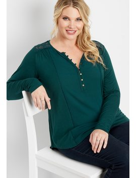 Plus Size Embroidered Mesh Yoke Top by Maurices