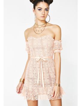 Peach Dakota Lace Mini Dress by For Love  Lemons