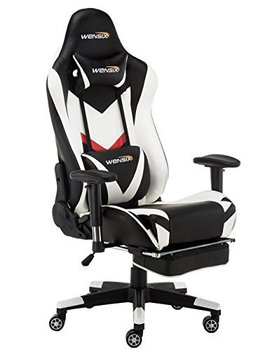Wensix Gaming Chair Ergonomic Racing Style Computer Chair Swivel High Back Computer Chair Pc Chair Adjustable Footrest With Lumbar Support And Headrest Pillow (White 002) by Wensix