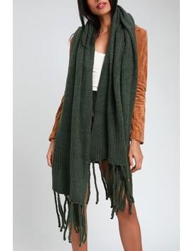 Jaden Green Ribbed Fringe Blanket Scarf by Free People