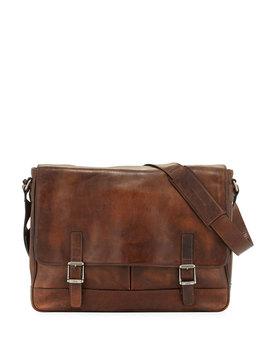 Oliver Men's Leather Messenger Bag, Dark Brown by Frye