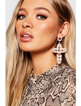 Ornate Gold And Diamante Cross Earrings by Boohoo
