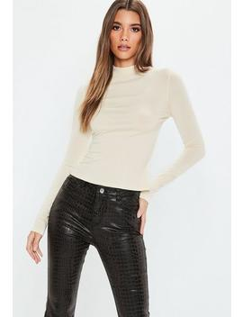 Nude Long Sleeve Turtle Neck Top by Missguided
