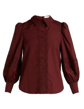 Broderie Anglaise Cotton Poplin Blouse by See By Chloé