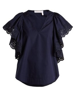 Broderie Anglaise Cotton Poplin Top by See By Chloé