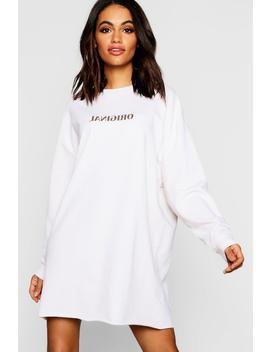 Original Reverse Print Oversized Sweatshirt Dress by Boohoo