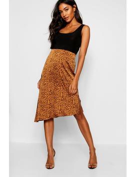 Tan Satin Leopard Asymetric Hem Midi Skirt by Boohoo