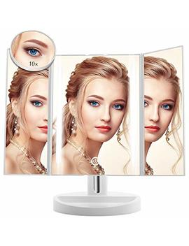 Led Lighted Makeup Mirror   Terresa Newest Vanity Mirror With Detachable 10 X Magnifying Mirror, Portable And 180° Adjustable Stand Desk Trifold Travel Mirror With Lights by Terresa