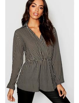 Stripe Twist Front Plunge Shirt by Boohoo