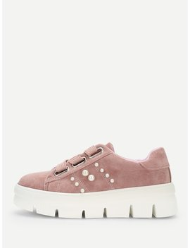 Faux Pearl Detail Lace Up Chunky Sneakers by Sheinside