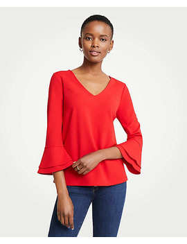 Petite V Neck Flare Sleeve Top by Ann Taylor