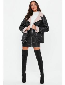 Black Contrast Borg Aviator by Missguided