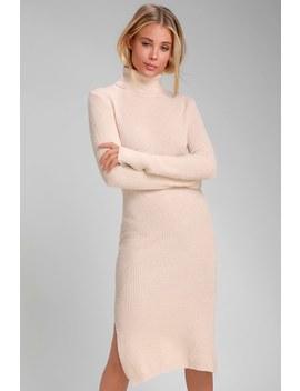 Sheerah Light Blush Turtleneck Midi Sweater Dress by Lulus