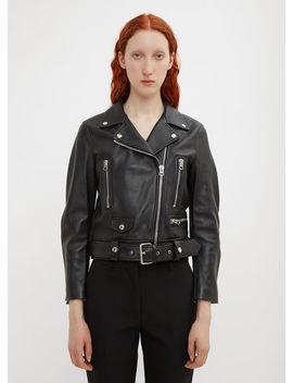 Mock Motorcycle Leather Jacket In Black by Acne Studios