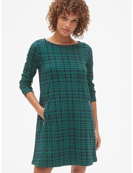Plaid Long Sleeve A Line Dress With Zip Pockets by Gap