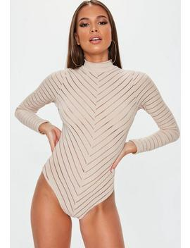 Nude Long Sleeve Chevron Bodysuit by Missguided