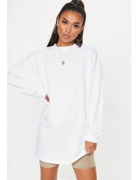 White Crew Neck Longline Oversized Sweatshirt by Missguided