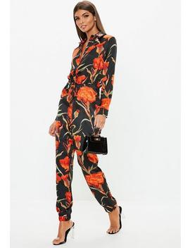 Black Dark Floral Print Jumpsuit by Missguided