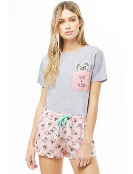 Pugly & Proud Graphic Pj Set by Forever 21