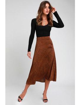 Brosnan Brown Satin Leopard Print Midi Skirt by Lulus