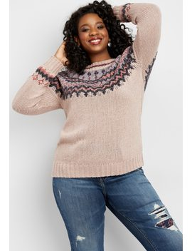 Plus Size Soft Pink Fairisle Sweater by Maurices