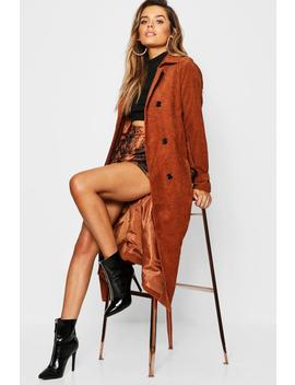 Cord Trench Coat by Boohoo