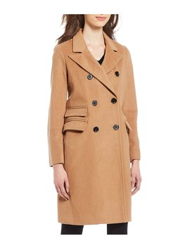 Double Breasted Wool Blend Long Reefer Coat by Michael Michael Kors