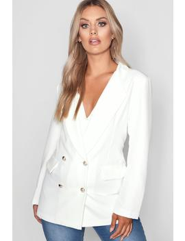 Plus Double Breasted Military Blazer by Boohoo