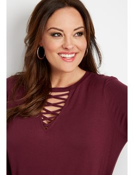 Plus Size 24/7 Strappy Neck Tunic Tee by Maurices