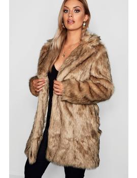 Plus Long Faux Fur Coat by Boohoo